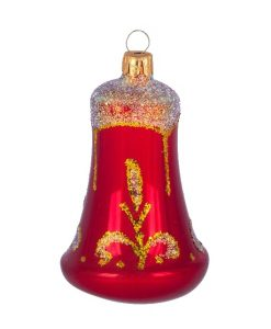 Beautiful, Glass Christmas Bell Ornament, Hand-blown and Hand-painted