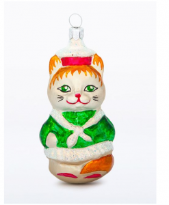 glass christmas figurine cat