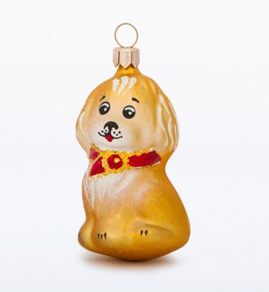 glass Christmas figurine dog