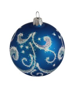 Shine Blue Glass Christmas Ball - Glass Christmas Ornaments
