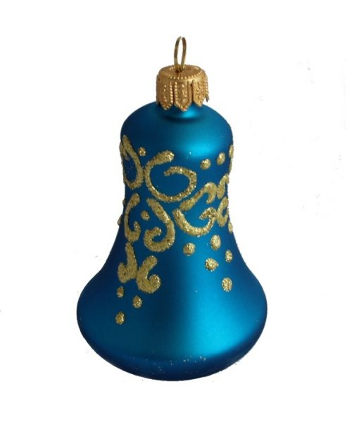 Glass christmas bell blue