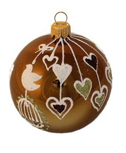 Birds and Hearts Glass Christmas Ball Ornament 80mm(3.1 inch), Glass Christmas Ornaments