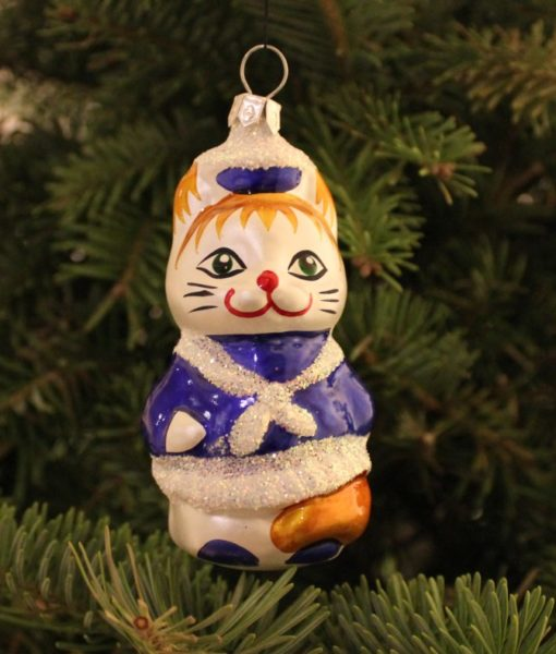 cat_christmas_ornament_on_christmas_tree2 cat_christmas_ornament_on_christmas_tree2 glass christmas figurine cat - Cat Christmas Decorations